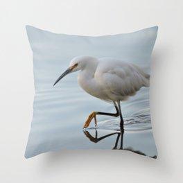 Snowy Egret High Stepping Throw Pillow