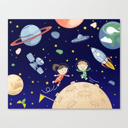 Space kids astronauts planets asteroids and spaceships Canvas Print