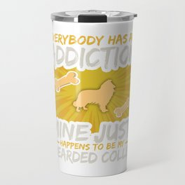 Bearded Collie Funny Dog Addiction Travel Mug