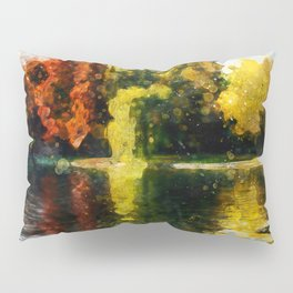 Gold And Fire Nature Reflection Watercolor, Nature Landscape In Autumn Painting, Large Print Photo Pillow Sham