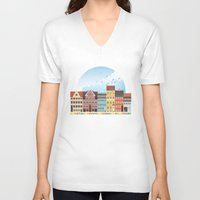 copenhagen V-neck T-shirts featuring Copenhagen by HOONISME