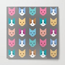 Rainbow Cat Quilt // Gray Metal Print