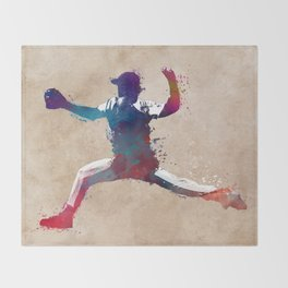 Baseball player 8 #baseball #sport Throw Blanket
