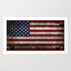American Flag, Old Glory in dark worn grunge Art Print