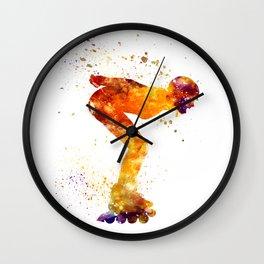 Woman in roller skates 09 in watercolor Wall Clock