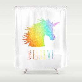 Believe     Rainbow Glitter Unicorn Shower Curtain