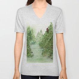 Pine Trees Christmas Forest Landscape Watercolor Unisex V-Neck