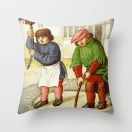 Medieval cleaning Throw Pillow
