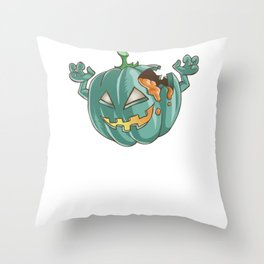 Zombie Pumpkin, It's Show Time Funny Halloween Horror Scary Throw Pillow