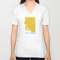 san diego V-neck T-shirts featuring San Diego Map by Roadtrippers