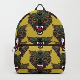 wolf fight flight ochre Backpack