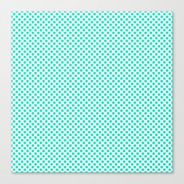 Bright Turquoise Polka Dots Canvas Print
