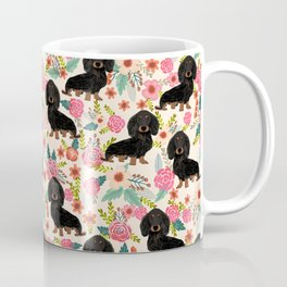 Doxie Florals - vintage doxie and florals gift gifts for dog lovers, dachshund decor, black and tan Coffee Mug