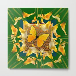 Green Garden Calla Lilies Yellow Butterfly Metal Print