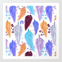 Watercolor Macrame Feathers + Dots in Lilac Rainbow Art Print