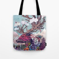 spirit Tote Bags featuring Journeying Spirit (deer) by Mat Miller