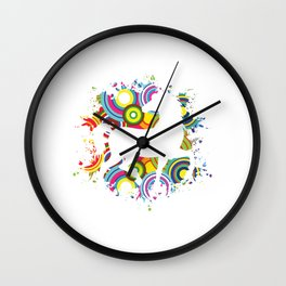 Colorful Horsing Shirt For Horse Lovers With Silhouette Of A Horse T-shirt Design Horseshoe Riding Wall Clock