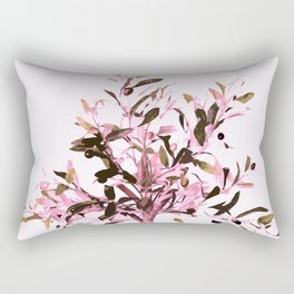 Little olive tree with pink tones on a white background Rectangular Pillow