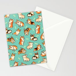 Jolly corgis in green Stationery Cards