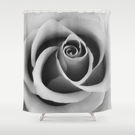 Rose Flower Close Up Black and White Floral Photography Shower Curtain