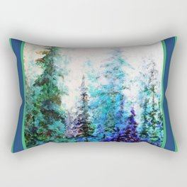 Blue Mountain Landscape Pines In Blue-Greens Rectangular Pillow