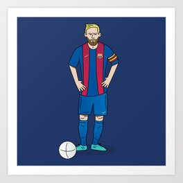 Lionel Messi - Blue Art Print