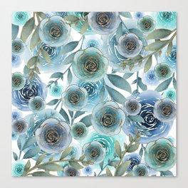 Watercolor Roses Golden Blues Canvas Print
