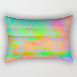 Neon colored abstract geometric triangle design Rectangular Pillow