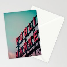 Seattle Pike Place Public Market Sign at Dawn Stationery Cards