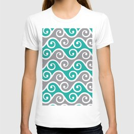 Aqua and Grey Wavy Ripple Pattern Pantone 2021 Color Of The Year Ultimate Gray  T-shirt