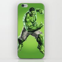 hulk iPhone & iPod Skins featuring HULK by Hands in the Sky
