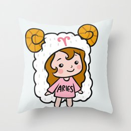 Aries girl Throw Pillow