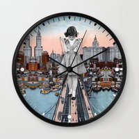 eugenia loli Wall Clocks featuring Stress Test by Eugenia Loli