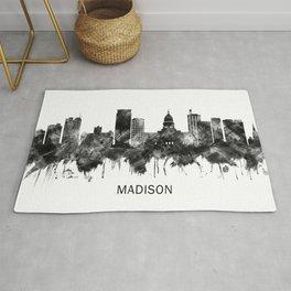 Madison Wisconsin Skyline BW Rug