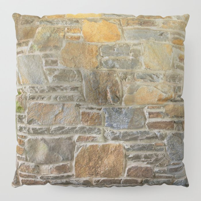 Avondale Brown Stone Wall and Mortar Texture Photography Floor Pillow
