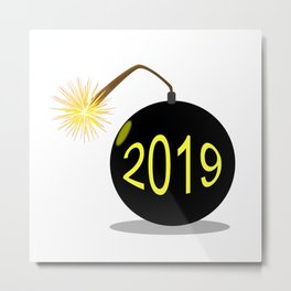Cartoon 2019 New Year Bomb Metal Print
