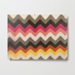 Crochet Chevron - Pink, Orange & Gray Metal Print