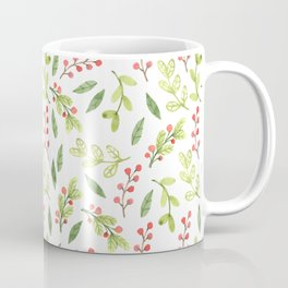 Bright Watercolor Christmas Mistletoe Pattern Coffee Mug