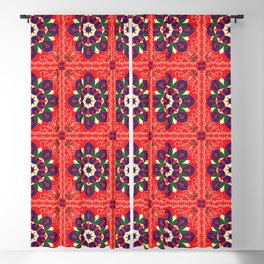 Egyptian Tent fabric, khyamia texture, ethnic traditional Ramadan pattern design in its original red, blue ,yellow &green colors,for Ramadan  Blackout Curtain