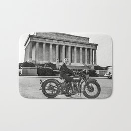 Sally Halterman - First Woman to be Granted a License to Operate a Motorcycle - © Doc Braham; All Ri Bath Mat
