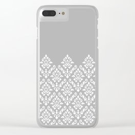 Damask Baroque Part Pattern White on Grey Clear iPhone Case