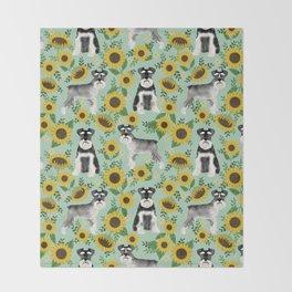 Schnauzer sunflowers spring summer floral dog breed dog pattern pet friendly Throw Blanket