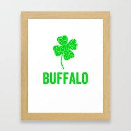 Buffalo Irish, St Patricks Day, Four Leaf Clover Framed Art Print