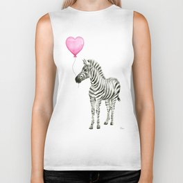 Zebra with Pink Balloon Biker Tank
