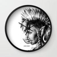 warcraft Wall Clocks featuring Punk Troll by Georgia Goddard