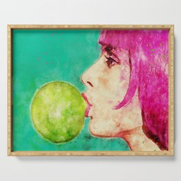 Bubble gum girl Serving Tray