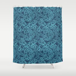 Blue Flower Doodle Shower Curtain
