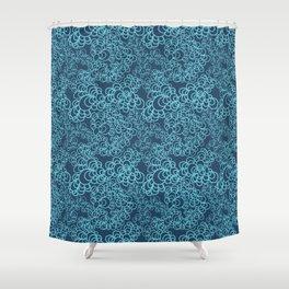 Blue Flower Doodle Shower Curtain
