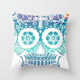 Watercolor floral sugar skull Throw Pillow