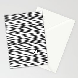 Minimal Line Drawing Simple Unique Shark Fin Gift Stationery Cards